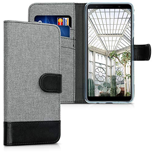 Preisvergleich Produktbild kwmobile Samsung Galaxy A7 (2018) Hülle - Kunstleder Wallet Case für Samsung Galaxy A7 (2018) mit Kartenfächern und Stand - Grau Schwarz