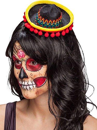 Minihut Sombrero schwarz-bunt mit Haarreif Kostüm Zubehör Mexikanerin Fasching