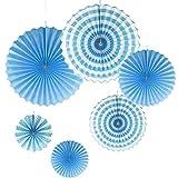 Gazechimp 6pcs / Set Abanico de Papel Plegable de Viento Colgante Decoración de Hogar para Boda Fiesta 4 Colores - Azul