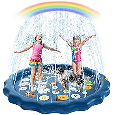 Mosro Splash Pad for Toddlers, Sprinkler for Kids Inflatable Wading Pools Summer Kiddo Swimming Pool Spray Water Kiddie Pool Outdoor Alphabet Ocean Play Mat for Boys & Girls Age 1 2 3 4 5 + Year Old by Mosro