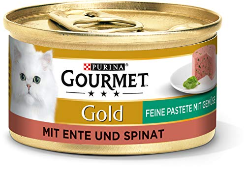 PURINA GOURMET Gold Feine Pastete mit Gemüse Katzenfutter nass, mit Ente und Spinat, 12er Pack (12 x 85g)