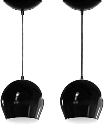 Kit 2 Pendentes Bola (Preto Brilhante/Branco)