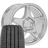 OE Wheels LLC 17 Inch Fit Corvette Camaro ZR1 Style Chrome 17x9.5 Rims and Toyo Proxes Sport All Season Tires Hollander 5035 SET
