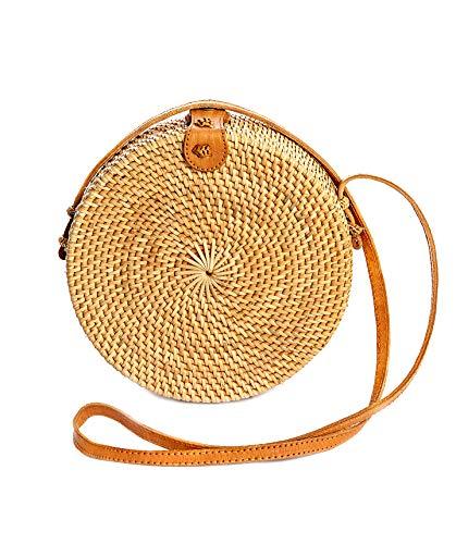Rattan Bags for Women - Handmade Wicker Woven Purse Handbag Circle Boho Bag Bali (Brown Small)