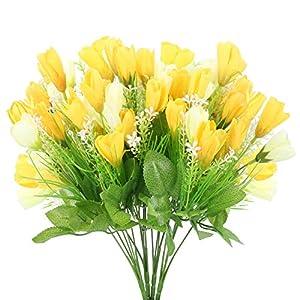 Silk Flower Arrangements AILANDA 4Bundles Artificial Tulips Flowers Real Touch 60 Heads Yellow Silk Flowers Tulips Stems for Easter Spring Wreath Wedding Bouquet Centerpiece Floral Arrangement Home Decor