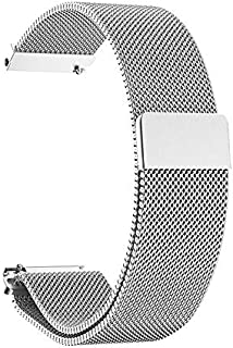BETTER-NEE Compatible Watch Band,Milans Loop Stainless Steel Magnetic Metal Replacement Strap,Magnet Lock for iwatch Series 1/2/3/4 42mm 44mm Shine Silver