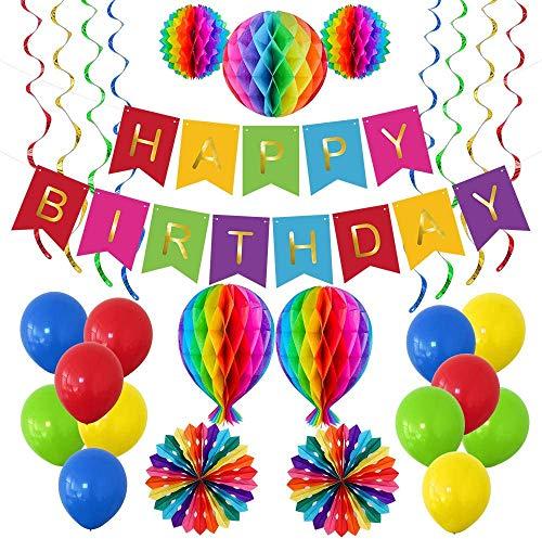 Geburtstagsparty Dekoration Partyzubehör, Garten Geburtstag Dekoration Set für Erwachsene / Mädchen / Damen / Herren, Fest Dekoration mit Happy Birthday Banner, Wabenbällen, Bunten Luftballons