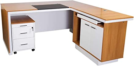 Mahmayi Zelda Modern Executive Desk, 180 x 160 x 75 cm, Walnut/White, ZHM225-16