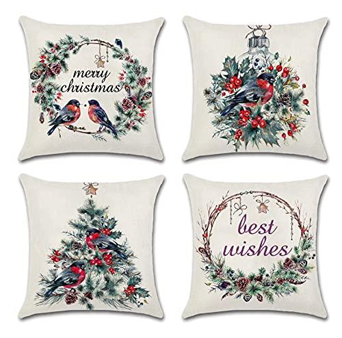 Korlon Christmas Throw Pillow Covers, Holiday Decorative Christmas Pillow Covers 18x18 Set of 4, Bird Farmhouse Outdoor Merry Christmas Throw Pillows Case - Winter Christmas Decorations