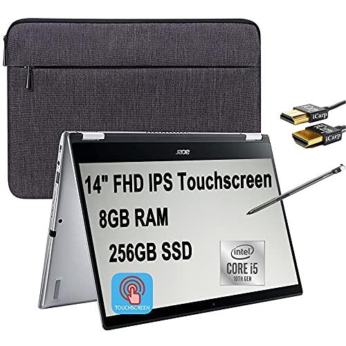 "Flagship 2021 Acer Spin 3 2 in 1 Laptop 14"" FHD IPS Touchscreen Intel Quad-Core i5-1035G1 (Beats i7-8550U) 8GB DDR4 256GB SSD Fingerprint Backlit Webcam Thunderbolt Win 10 + iCarp HDMI Cable"