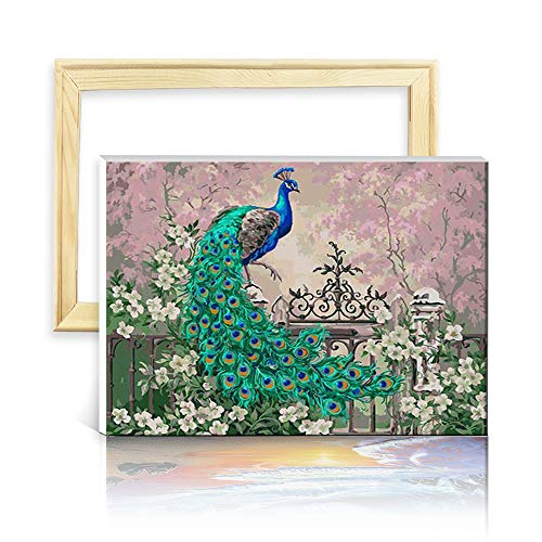 decalmile Paint by Number Kits DIY Oil Painting Works for Adults Kids Beginner Canvas Art Peacock Green Blue 16'X 20' (40 x 50cm, with Frame)