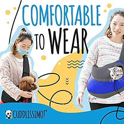 Cuddlissimo! Pet Sling Carrier - Small Dog Puppy Cat Carrying Bag Purse Pouch - For Pooch Doggy Doggie Yorkie Chihuahua Baby Papoose Bjorn - Travel Front Backpack Chest Body Holder Pack To Wear (Blue) 5