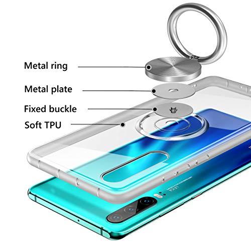 Vunake Huawei P30 Hülle, Silikon TPU Slim Cover Transparent Ultradünn Handyhülle mit 360 Grad Ring Stand Magnetische Autohalterung Schutzhülle Case für Huawei P30,Clear - 4
