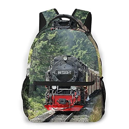 LUDOAN Sac à dos de voyage,train à vapeur de l'ère industrielle,train de locomotive à vapeur,chemin de fer de locomotive de chemin de fer vintage,sac à dos antivol résistant à l'eau pour affaires