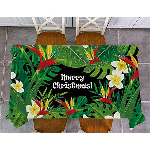 XXDD Weihnachten Elch Santa Claus Tischdecke Pflanze Blätter Baumwolle Leinen Rechteck Tischdecke Esstisch Abdeckung Für Küchendekor A2 135x135cm