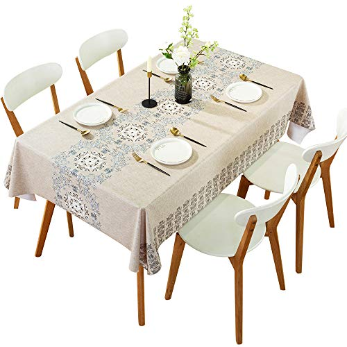 DARUITE Rectangle Vinyl Oilcloth Tablecloth 54 x 78, Flowers Printed Table Cloth Waterproof Spillproof Wipeable Heavy Plastic Tablecloths for Dining Room, Outdoor, Picnic, Parties, Camping