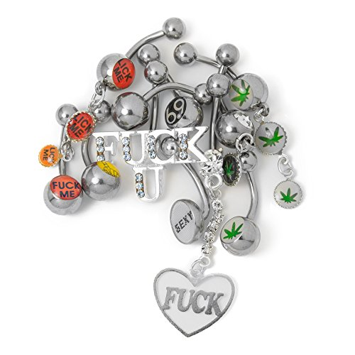 Naughty Belly Ring Mix Package - Mixed Naughty Logos 14ga 316L Surgical Steel