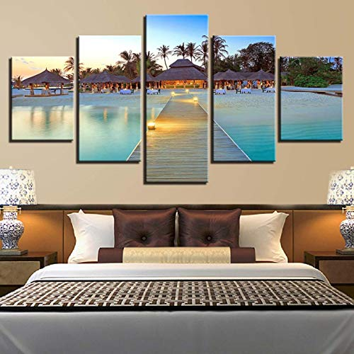 DHSCA Decoration 5 Piece Canvas for Painting Beach Wooden Bridge Gazebo Sunset Seascape 150X80Cm Wall Art for Modern Home Living Room Bedroom Decoration Non-Woven Hd Prints Image Framed Artwork