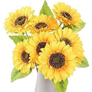 AmyHomie Artificial Flowers, Artificial Sunflower Bouquets, Fake Flowers for Baby Shower Home Decoration Wedding Decor, Bride Holding Flowers,DIY Garden Craft Art Decor