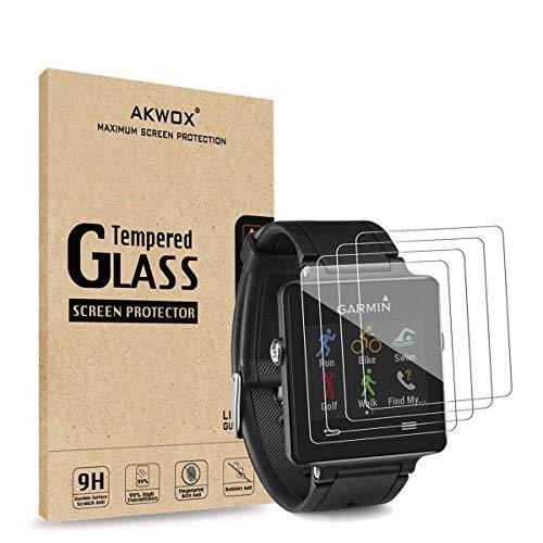 AKWOX [4 Unidades] Protector de Pantalla para Garmin Vivoactive [9H Dureza] Cristal Vidrio Templado para Garmin Vivoactive Cristal Templado