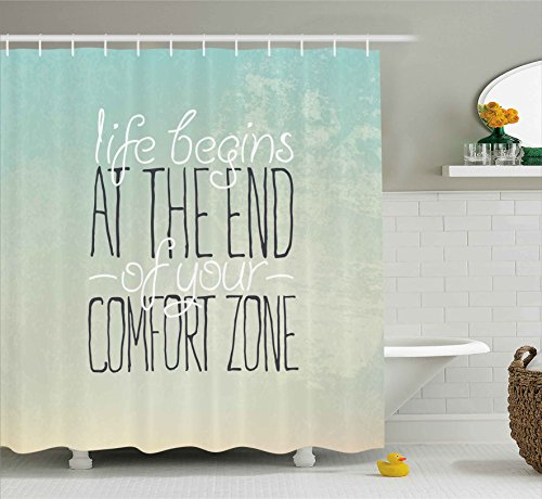 """Ambesonne Lifestyle Shower Curtain, Motivational Life Begins at The End of Your Comfort Zone Words Concept Print, Cloth Fabric Bathroom Decor Set with Hooks, 70"""" Long, Mint"""