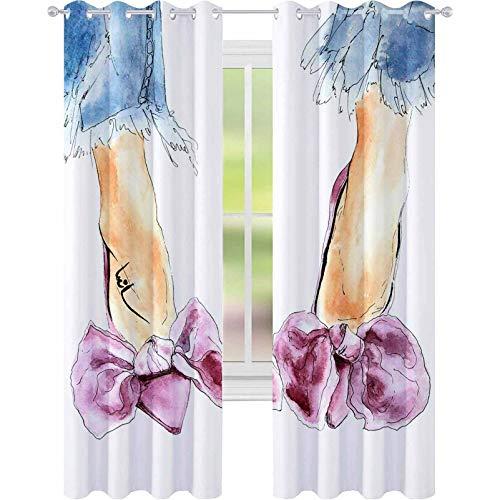 """YUAZHOQI cortinas opacas rosa púrpura terciopelo zapatos con arco y tacones mujer piernas azul jeans acuarela moda Ilustración sk 52 """"x 72"""" cortinas personalizadas"""