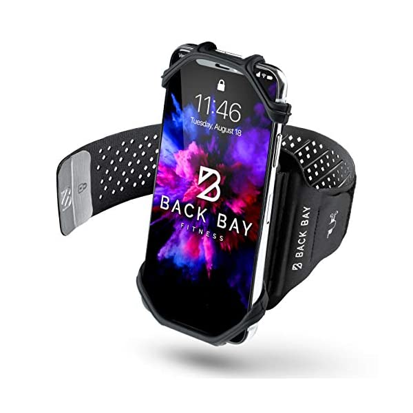 Back Bay No-Slip 360 Running Armband for iPhone 11 Pro, XS, X, XR, 8, 7, 6, Samsung Galaxy, Note with Case. Runner Adjustable Phone Holder Pouch for Face ID and Touch ID. Key Slot Credit Card Pocket