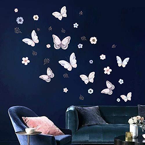 decalmile Stickers Muraux Fleur Papillon Autocollant Murale Brindille Décoration Murale Fille Enfants Chambre Salon