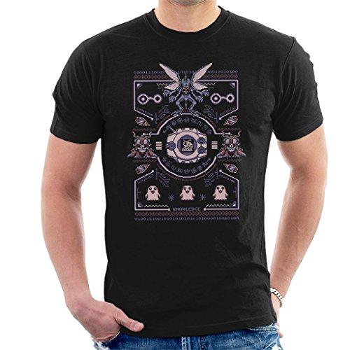 Christmas Digimon Tentomon Digivolve Knowledge 8 Bit Knit Pattern Men's T-Shirt Black