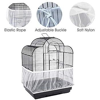 Housses pour Cages À Oiseaux Maille Couverture Protection Cage Élastique Perruches Canaris Attrape Graine