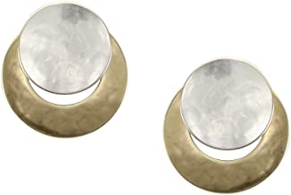 product image for Marjorie Baer Disc Over Crescent Clip on Earring in Brass and Silver
