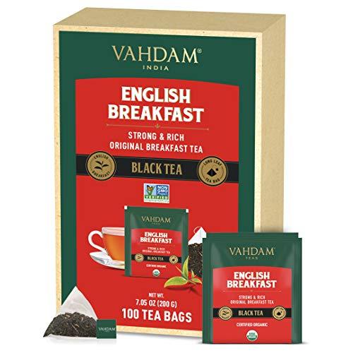 VAHDAM, Bio-Englischer Frühstückstee (100 Teebeutel)   HOHE ENERGIE & KOFFEIN - Gesunder Kaffee-Ersatz   Robuste & schmackhafte schwarze Teebeutel   REICH AN ANTIOXIDANTEN