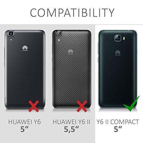 kwmobile Huawei Y6 II Compact (2016) Hülle - Handyhülle für Huawei Y6 II Compact (2016) - Handy Case in Flamingo Palmen Design Rosa Grün Transparent - 6