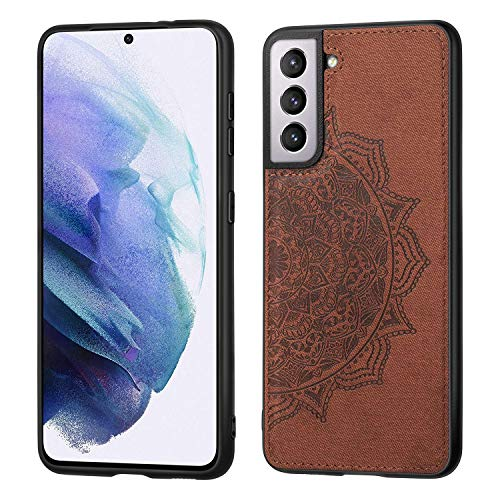 Grandcase Galaxy S21 Case,Ultra thin PU Leather Soft Flexible TPU Bumper Anti-Slip Scratch Resistant Protective Cover for Samsung Galaxy S21 6.2' -Brown