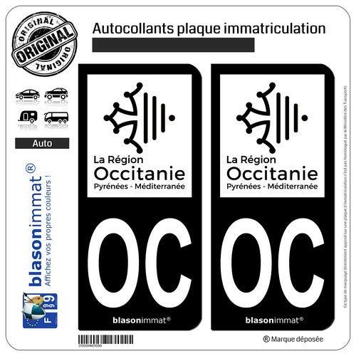 Blasonimmat - 2 pegatinas para placa de matrícula de coche OC Occitania