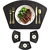 Immokaz Round Placemat for Dining Heat Insulation Stain Resistant Non-Slip Waterproof Washable Wipe Clean PU Fan Shape Wedge Kitchen Table Mat Set (4, Pu_Wood Black)