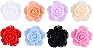100 pieces Rose Embellishments for Nail Art Charm or jewelry making, 3D with Flat Back Resin Beads Manicure Multicolor Flo...