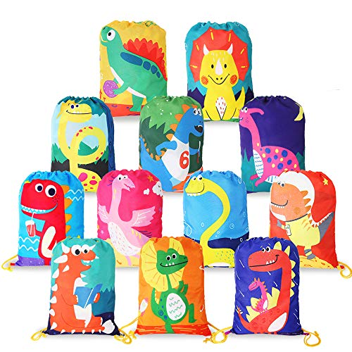 12 PCS Dinosaur Kids Party Favor Bags for Birthday Christmas Gift Package,Drawstring Goody Bag with Cartoon Cute Dinosaur Designed to Baby Kids Boys and Girls