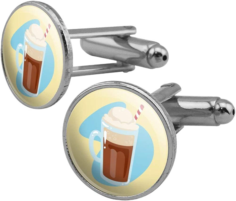 GRAPHICS MORE Root Beer Max 88% OFF Float Silver Set Color Year-end annual account Cufflink Round