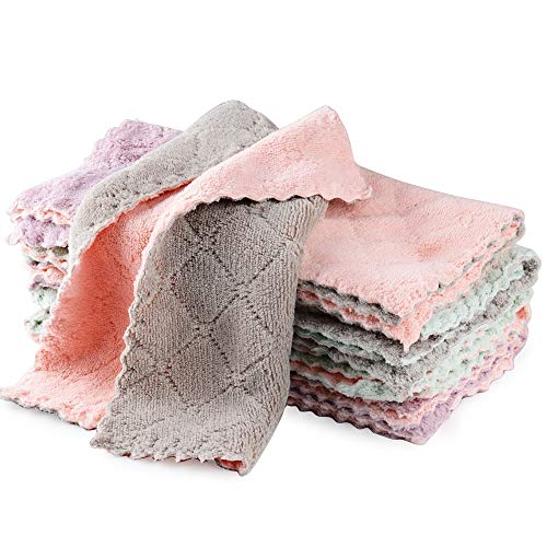 MEJOSER 10er Set Putzlappen Putztücher Saugfähige Geschirrhandtücher Küchenhandtücher Mikrofaser Tücher Spüllappen Reinigungstücher Küche für Haushalt Reinigung ohne Flusen