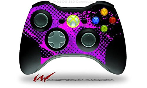 XBOX 360 Wireless Controller Decal Style Skin - Halftone Splatter Hot Pink Purple (CONTROLLER NOT INCLUDED)