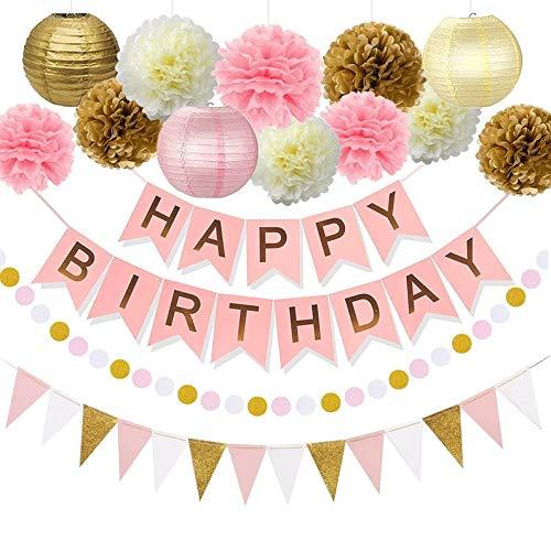 Pink Gold Birthday Decorations - Pink Birthday Banner, Pink Girls Birthday (WGW) Party Kit Decor, Pink Gold Poms & Lantern Set, Pink Flag Garland