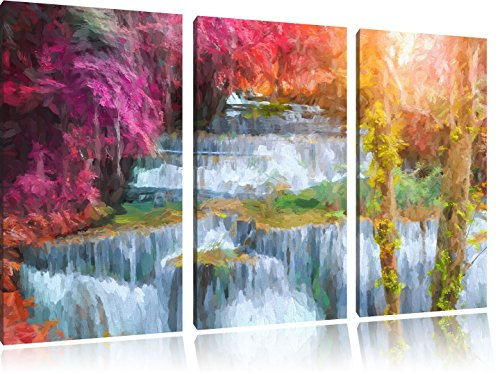 Pixxprint Wasserfall im Regenwald / 3-Teilig/Gesamtmaß 120cm Leinwandbild bespannt auf Holzrahmen/Wandbild Kunstdruck Dekoration