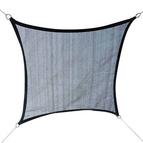 Outsunny Tenda a Vela Parasole Rettangolare Tessuto in Polietilene (185g/㎡) Traspirante e Resistente ai Raggi UV Anelli in Acciaio Grigio 3.6x3.6m