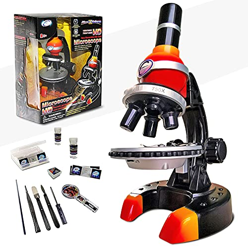 Microscope Kit for Kids 8-12, 150x-1250x STEM Set with Slides, LED Beginner Kids Microscope Science Kits, Biological Experiment Educational Toys for Children, Student at Lab, Gifts for Girls and Boys