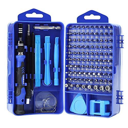 YINSAN 120 en 1 Tournevis Precision Kit Tools, Portable Kit Tournevis de Précision Magnétique Tournevis Outils de Réparation Pour Ordinateur/Laptop/iPhone/Lunettes/Montre/Smartphone (Blue)