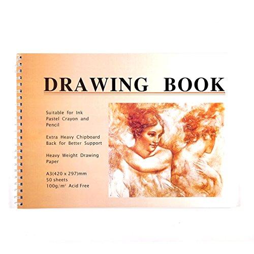 Art-Star Pastell ZEICHENBLOCK Din A3 | 50 Blatt, 100gsm, Künstler Malblock, Skizzenblock, Zeichenpapier für Pastellfarben, Bleistiftzeichnungen, Kohle