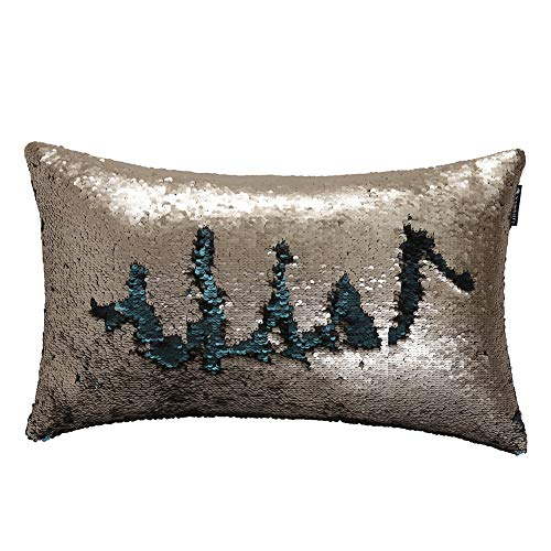 Reversible Sequins Pillow Cover Shimmer Pillow Case 12X20'Antique Gold Matte Atlantis Blue Mermaid Sequin Pillow Glitter Cushion Cover for Sofa Couch Bed Party White Christmas Decorative Magic Gift