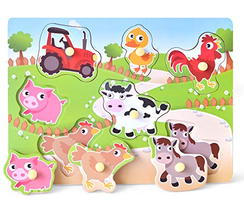 Wooden Puzzles Farm Chunky Baby Puzzles Peg Board, Full-Color Pictures for Preschool Educational Jigsaw Puzzles, 7Pieces