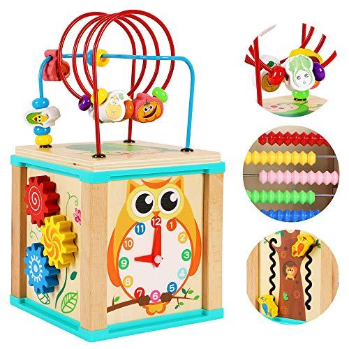 TOWO Cuentas de cubo de actividad de madera Laberinto -5 Actividades Montaña rusa Abacus Ruedas dentadas Engranajes Reloj zig zag slide- juguetes educativos tempranos para bebés Montessori de 1 año